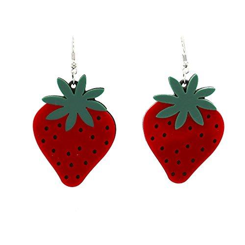 Mode Schmuck Mädchen großes Acryl Rot Erdbeeren Drop baumeln Ohrringe für (Pretty Woman Kostüm Schmuck)
