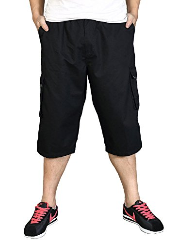 Uomo Cotton Cargo pantaloncini Pantaloni Outdoor Trousers COUSIN CANAL Nero
