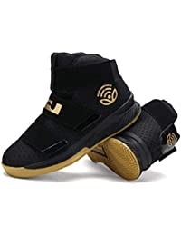 74314f7aee5a ZHRUI Men Sport Shoes High Top Authentic Leather Trainers Boys Basketball  Sneakers (Color   Gold