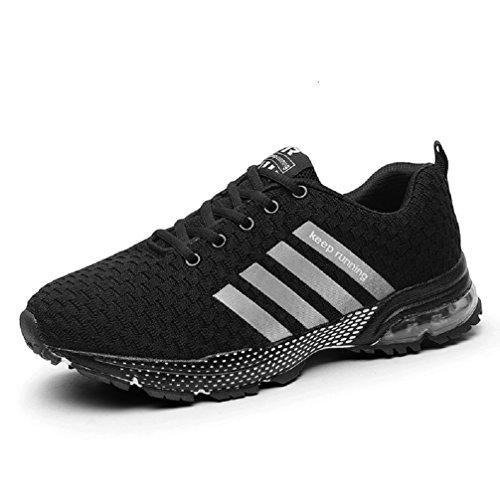 Sollomensi Chaussures de Course Running Compétition Sport Trail Entraînement Homme Femme Cinq Couleurs Basket - D Noir - Taille 37 EU