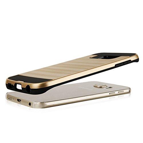 EGO® Hard Case Schutz Hülle für Samsung G925 Galaxy S6 Edge, Silber Metallic Effect Aluminium Brushed Handy Cover Schale Bumper Etui Gold