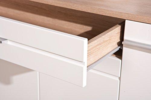 Links 19500370 Anrichte Kommode Diele Wohnzimmer 4-türig Schublade Sonoma Eiche weiß hochglanz - 3