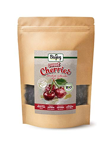 Biojoy getrocknete BIO-Süßkirschen | 100% Natur, ungezuckert & ungeschwefelt | ganze Kirsche, schonend getrocknet & entsteint | Premium-Bio-Qualität | Prunus avium (0,5 kg)