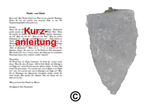 Trimontium PENDEL/RUTE/RADIÄSTHESIE: Roh-Edelsteinpendel aus Bergkristall mit Kurzanleitung