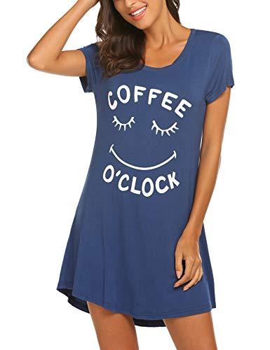 Baumwoll-print-nachthemd (MAXMODA Damen Nachthemd Baumwolle Kurzarm Nachtwäsche Negligees Schlafhemd T-Shirt Sleepshirt)