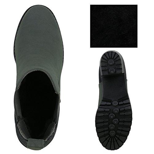 Damen Stiefeletten Blockabsatz Chelsea Boots Profilsohle Dunkelgrün Silber