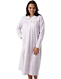 e659a686d9 Ladies Brushed Cotton Winceyette Nightdress. White Background With Pink or  Blue Floral Design. Sizes