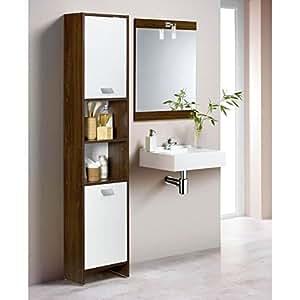 Colonne de salle de bain 2 portes wengé/blanc
