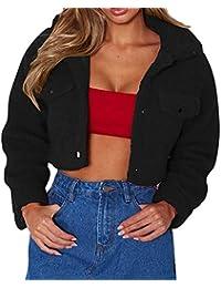 e760470252741a Sunnyuk Damen Kurze Jacke schwarz mädchen kurz Slim-fit Blazer mit Taschen  knöpfen   Vogue