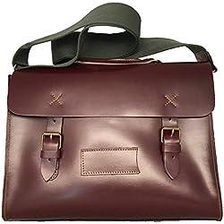 Bag Of Queen Bolso, Cartera para Hombre/Mujer,34x28x10 cm (W x H x L) Piel Genuina,maletín ordenador portatil de lujo. (BURDEOS)