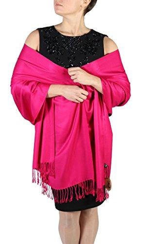 Pashmina Schal Tuch für Frauen - Quastenveredelung - Kostenloser Aufhänger (Über 20 Farben) Handgefertigt (Cerise)