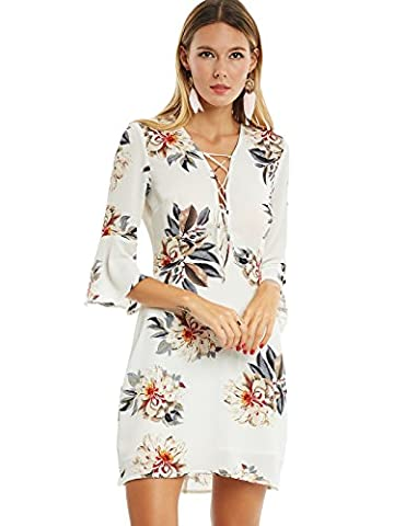 Kinikiss Women's Beige Pullover Chiffon Flare 3/4 Sleeve Lace-Up V Neck Floral Print Above Knee Bodycon Day Short Dress (M)