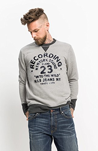 H.I.S Herren Sweatshirt, Round Neck Grau (Light Grey Melange 8019)