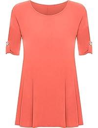 Womens Plus Size Scoop Neck Short Sleeve Flared Ladies Long Plain Top Sizes 14-28