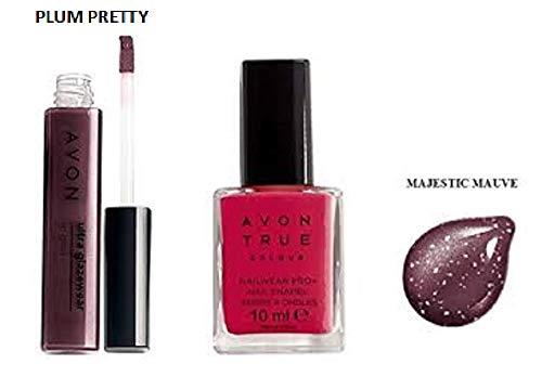 2Stück–Avon True Farbe GLAZEWEAR Lipgloss Pflaume pretty und Nail Emaille Majestic Mauve