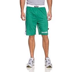 Spalding Hose & Shorts Essential Reversible - Pantalones cortos de baloncesto para mujer, color verde / blanco, talla L