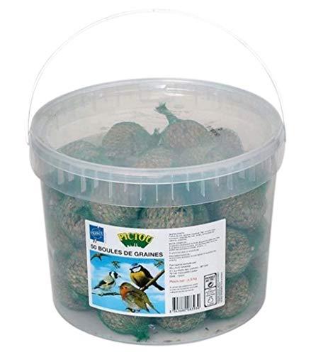 Pictou Seau De Graines pour Oiseaux avec Filets Grand Format (Lot de 2 seaux de 50 Boules)