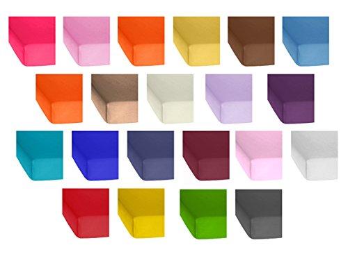2er Pack Standard Jersey Kinder Spannbetttuch 60x120 bis 70x140 cm in vielen Farben, Spannbettlaken passend für Kinder- und Babymatratzen, 100% Baumwolle ( Weiss )