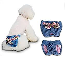 ELECTROPRIME Cowboy Bowknot Female Pet Dog Physiological Diaper Sanitary Underwear S