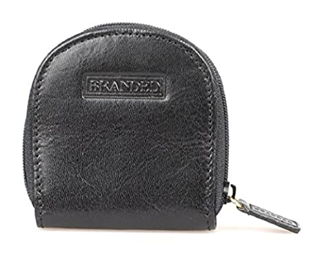 Branded Men's Gent's Leather Zip Top Coin Purse - Black