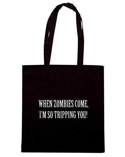 T-Shirtshock - Borsa Shopping TZOM0051 when zombies come Nero