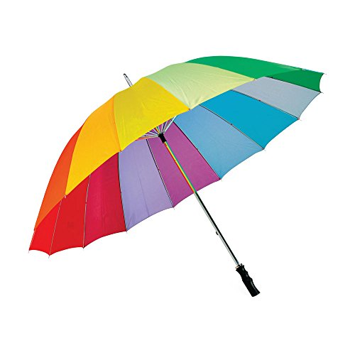 16 costilla amplia cubierta Deluxe arco iris paraguas - Ultra Durable, fuerte tormenta prueba novia / fotógrafo