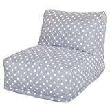 Majestic Home Goods Ikat Dot Bean Bag Chair Lounger, Gray