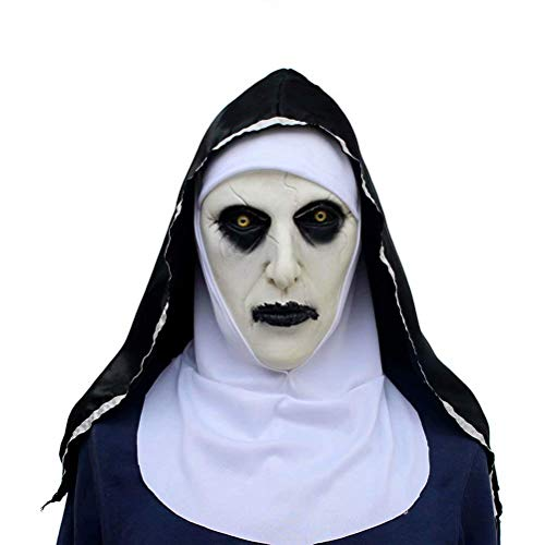 Coogel Halloween Ghost Festival Horror Nun Mask Cosplay Props Latex Scary Full Head Halloween Cosplay Costume ()
