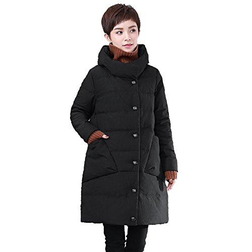 Frauen Daunenjacke Mäntel Stehkragen Langarm Tasche Leichte Warm Winddicht Dicker Padded Outwear . Black . M (Mantel Für Frauen, Canada)