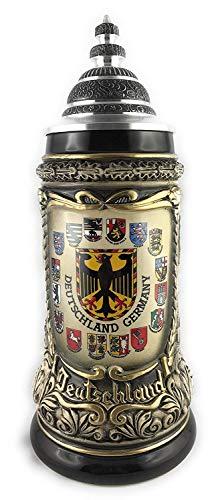 Beersteincenter Bierkrug mit Deckel Deutschland 0,5 Liter Bierseidel Steingut -