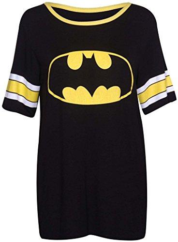 Crazy Girls Damen '85' Druck Kurzarm Baseball Trikot T-Shirt Top - 5 Farben- Größe 36-54 (M/L(40-42), Black-Batman Print Top) -