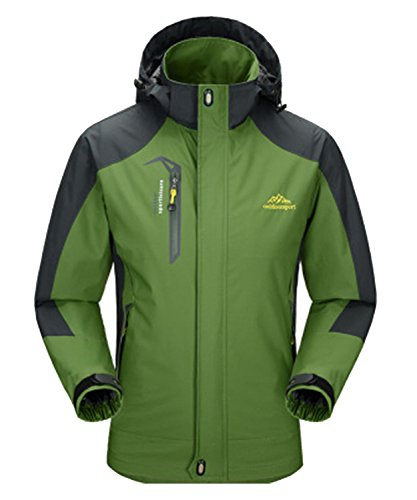 DEMO Herren Wasserdichte Regenjacken Männer Frauen Softshell Sport Outdoor Jacken mantel paar Oberbekleidung Breathable Mit Kapuze Camping Wandern Jacke mantel (Armeegrün-Herren, XL)