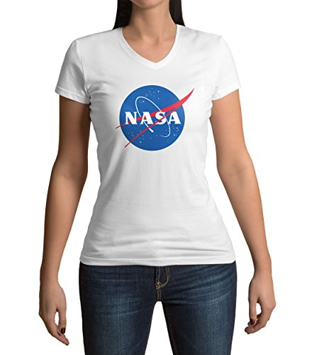 Classic Space Nasa Logo Damen V-neck T-shirt L (V-neck T-shirt 5 Womens)