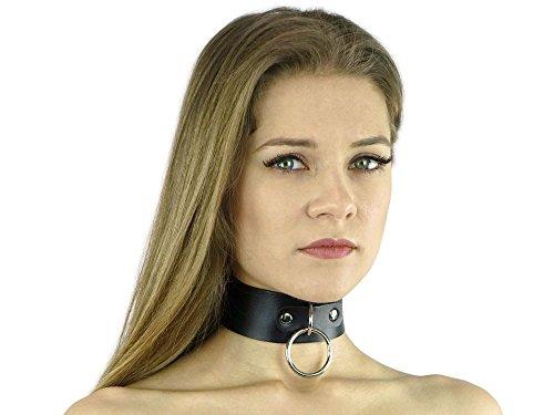 Bondage und SM Halsband 4 cm breit 35-44 cm mit O-Ring Leder-Halsband