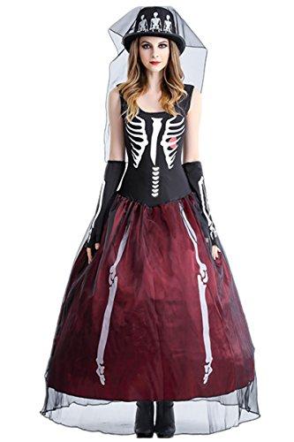 Halloween Kostüm Piraten Kleidung Pharao Damen Cosplay Damenkostüm Königin Kostüm Halloween Strumpfhalter Halloweenkostüm (XL, Gespenst Braut-a)