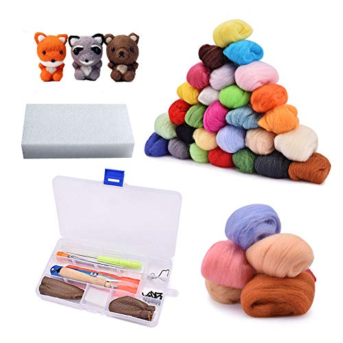 AFDEAL Filzwolle Märchenwolle, 36 Nadelfilz Starter Kit Set Farben Wolle Roving Filzen Basic Kit für Hand Spinnen DIY Craft Projekte ... (36 Nadelfilz)
