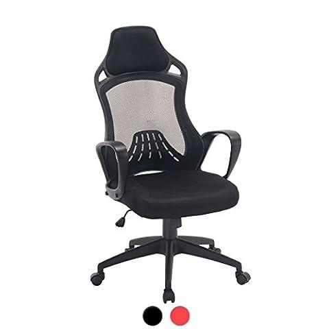 LOG Chaise de Bureau Racing haut dossier, Sport, Confort KAYELLES (Noir)