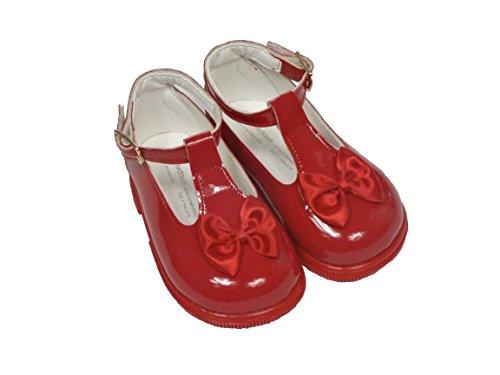Baby Schuhe zur Taufe, für Mädchen, verschiedene Größen für 2 bis 6 UK, Rot, Schwarz, Elfenbeinfarben/Pink Rot - Rot