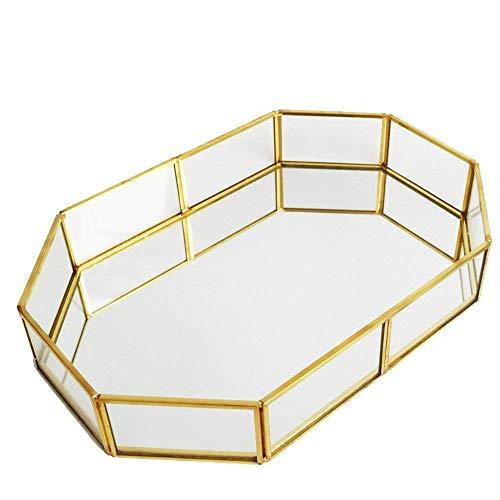 QILICZ Spiegeltablett Dekotablett Spiegel Tablett Glastablett Schmuck/Kosmetik Organizer Tablett Kosmetik Platte Serviergeschirr 31.5x21.5x5cm Gold-tablett