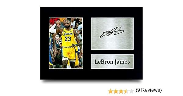 Cadre A4 HWC Trading Photo d/édicac/ée imprim/ée Lebron James Los Angles Lakers Gifts pour Les Fans de Basketball