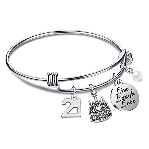 ffb43070759521 Prezzo Lauhonmin birthday gifts for her bangle bracciali live laugh love  pendaglio