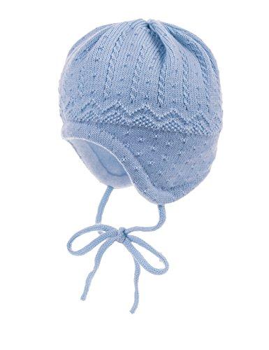 maximo Baby - Jungen Mütze ausgenäht, Bindeband, Struktur, Gr. 43 cm, Blau (lightblue 83)