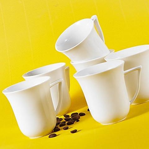 Malacasa, Serie Carina, 18 teilig Set Kaffeeservice Cremeweiß Porzellan Kaffeetasse Tassen 4,75 Zoll / 12*9,5*10cm / 290ml Becher Teetasse Kaffeebecher-Set Bechersets