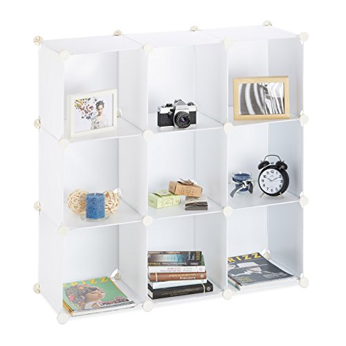 Relaxdays Étagère Rangement 9 casiers Plastique modulable DIY Assemblage Plug in bibliothèque 95x95x32 cm, Blanc