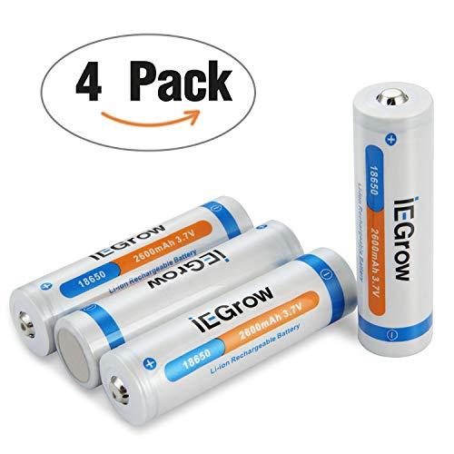 18650 Akkus, iEGrow Wiederaufladbar Batterien 2600mAh 3.7V Volle Kapazität Li ion Akku für...