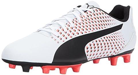 PUMA Mens Adreno III FG Soccer Shoe, Puma White-Puma Black-Fiery Coral, 11 D(M) US