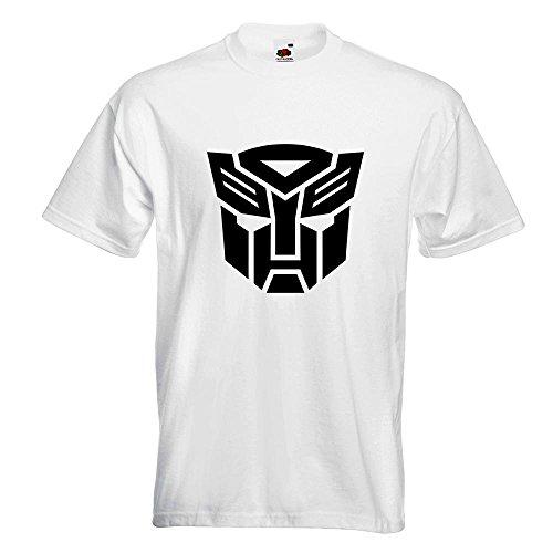 KIWISTAR - Transformers Emblem T-Shirt in 15 verschiedenen Farben - Herren Funshirt bedruckt Design Sprüche Spruch Motive Oberteil Baumwolle Print Größe S M L XL XXL Weiß