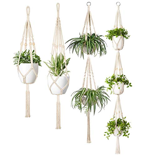 Mkouo Makramee Pflanzenhänger Set of 4 Innen Baumwollseil Hängender Pflanzer Korb Blumentopfhalter Boho Home Decor -