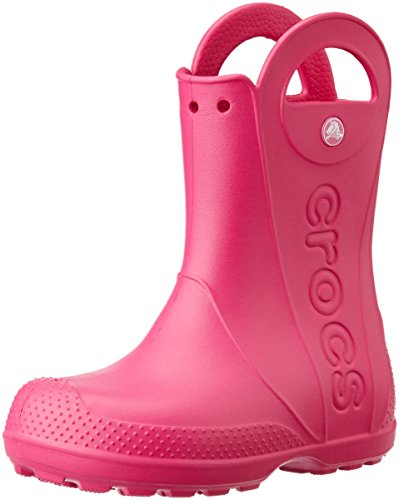 Crocs handle it rain boot k, stivaletti unisex – bambini, rosa (candy pink), 34/35 eu