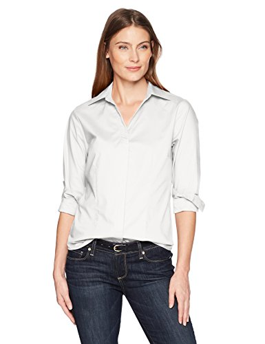 Riders by Lee Indigo Damen Long Sleeve Button Front Easy Care Woven Shirt Hemd, Weiß (Arctic White), Groß - Woven Long Sleeve Button